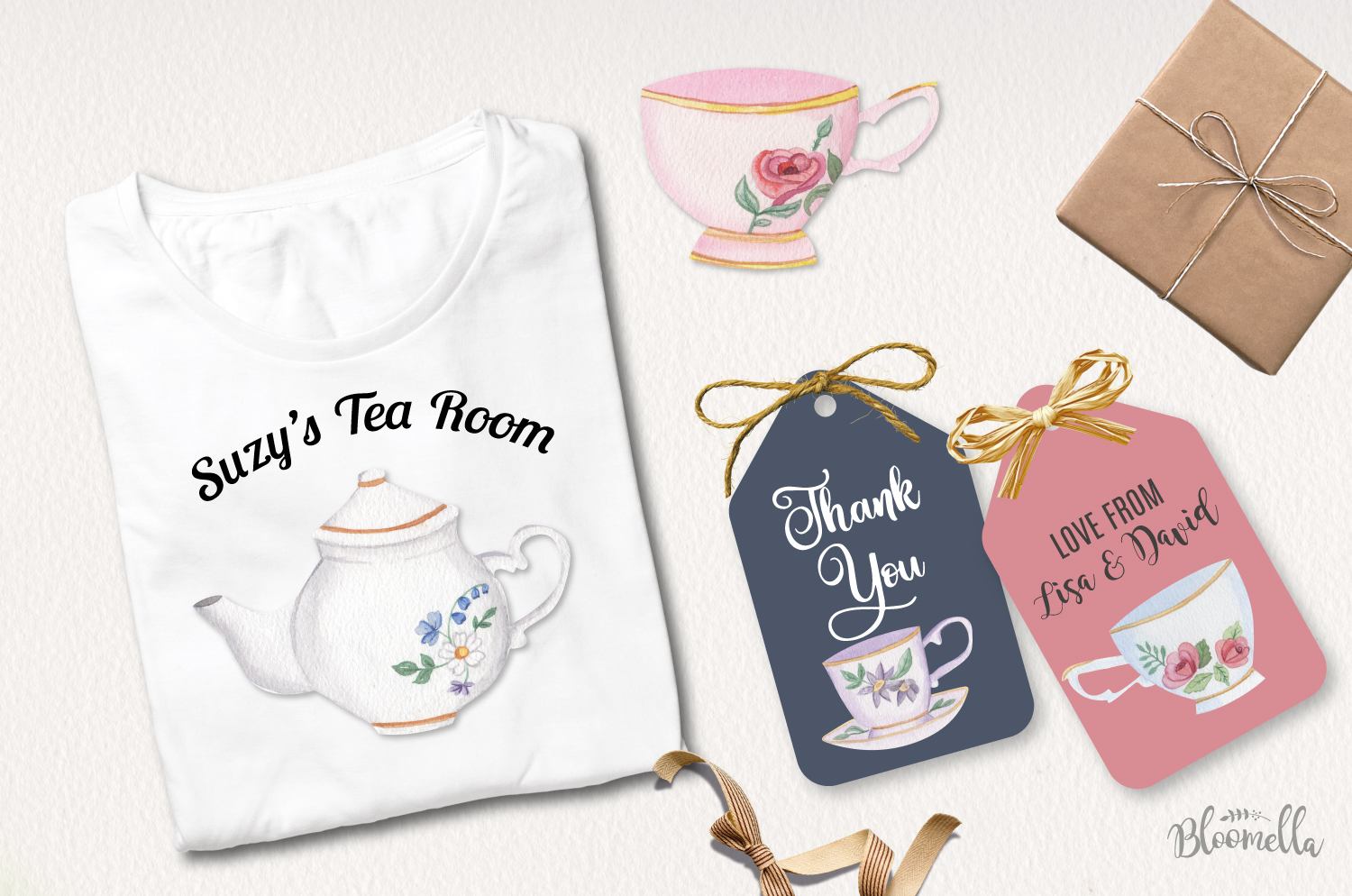 Afternoon Tea 18 Mini Watercolor Teapot & Cups Cakes Florals example image 4