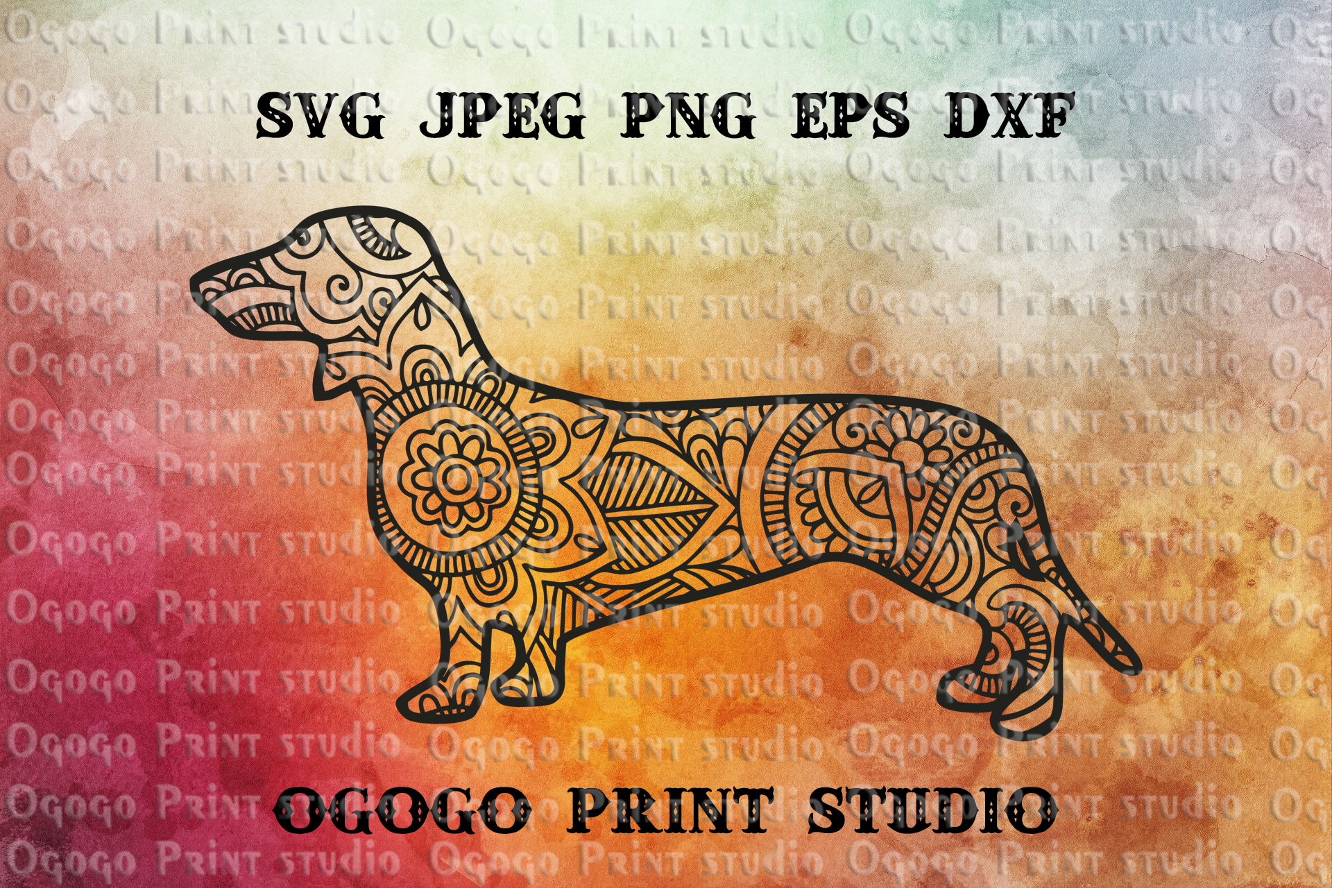 Mandala style Dachshund svg, Zentangle SVG, Dog SVG, Pet example image 1
