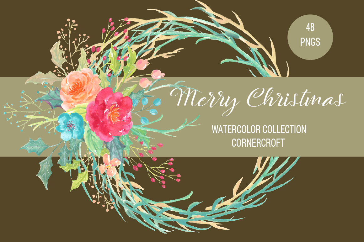 Merry Christmas Watercolor Collection example image 6