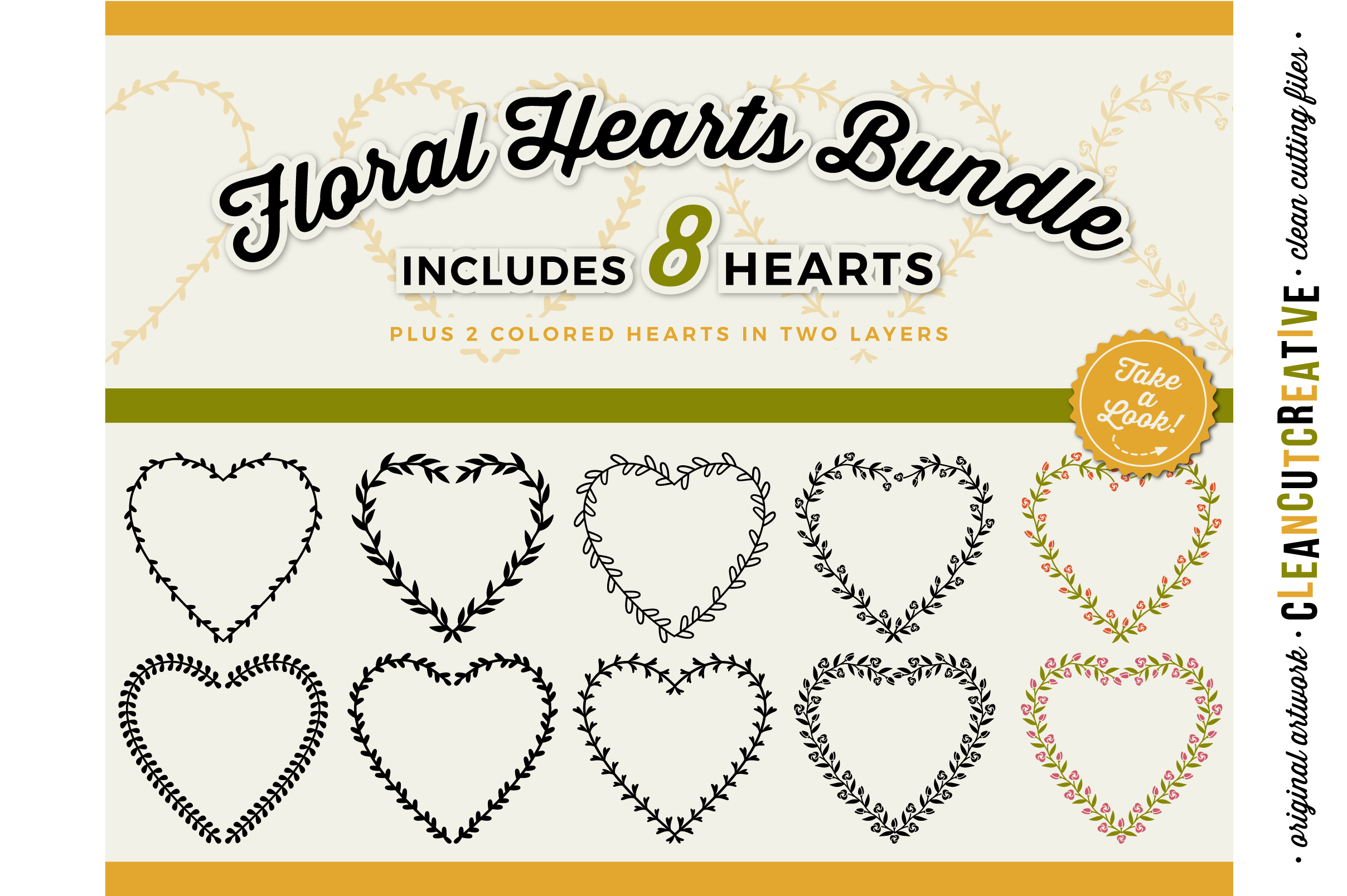 8 svg FLORAL HEARTS floral leaf heart wreath frames - SVG DXF EPS PNG - for Cricut and Silhouette Cameo - clean cutting digital files example image 1