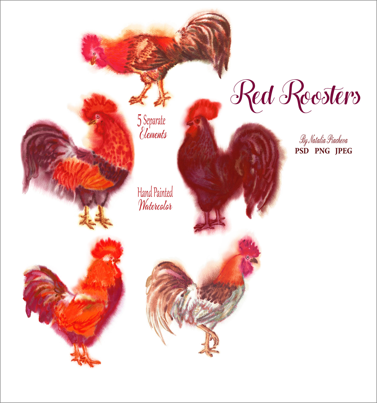 Red Watercolor Roosters example image 4