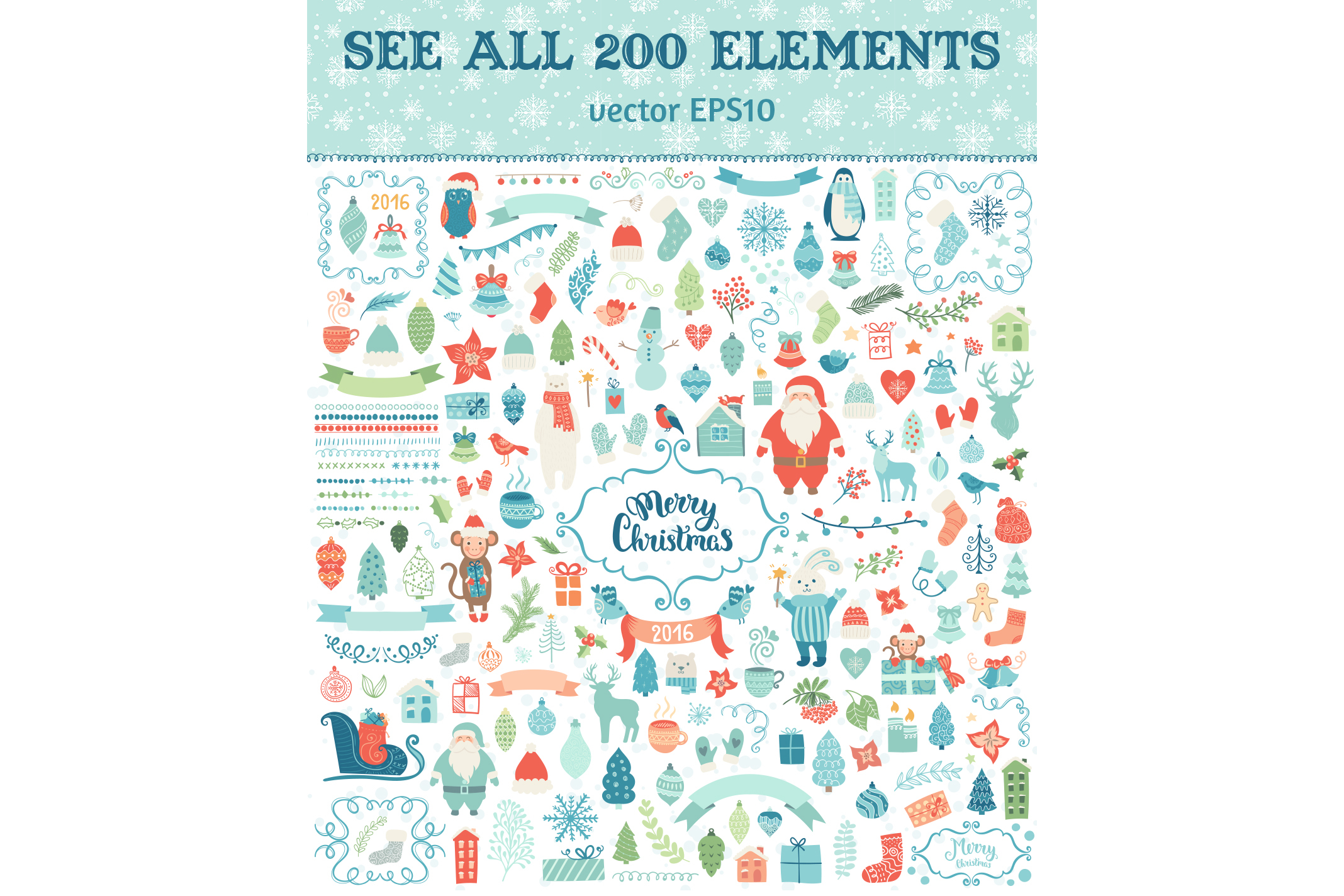 Big Christmas elements collection example image 2