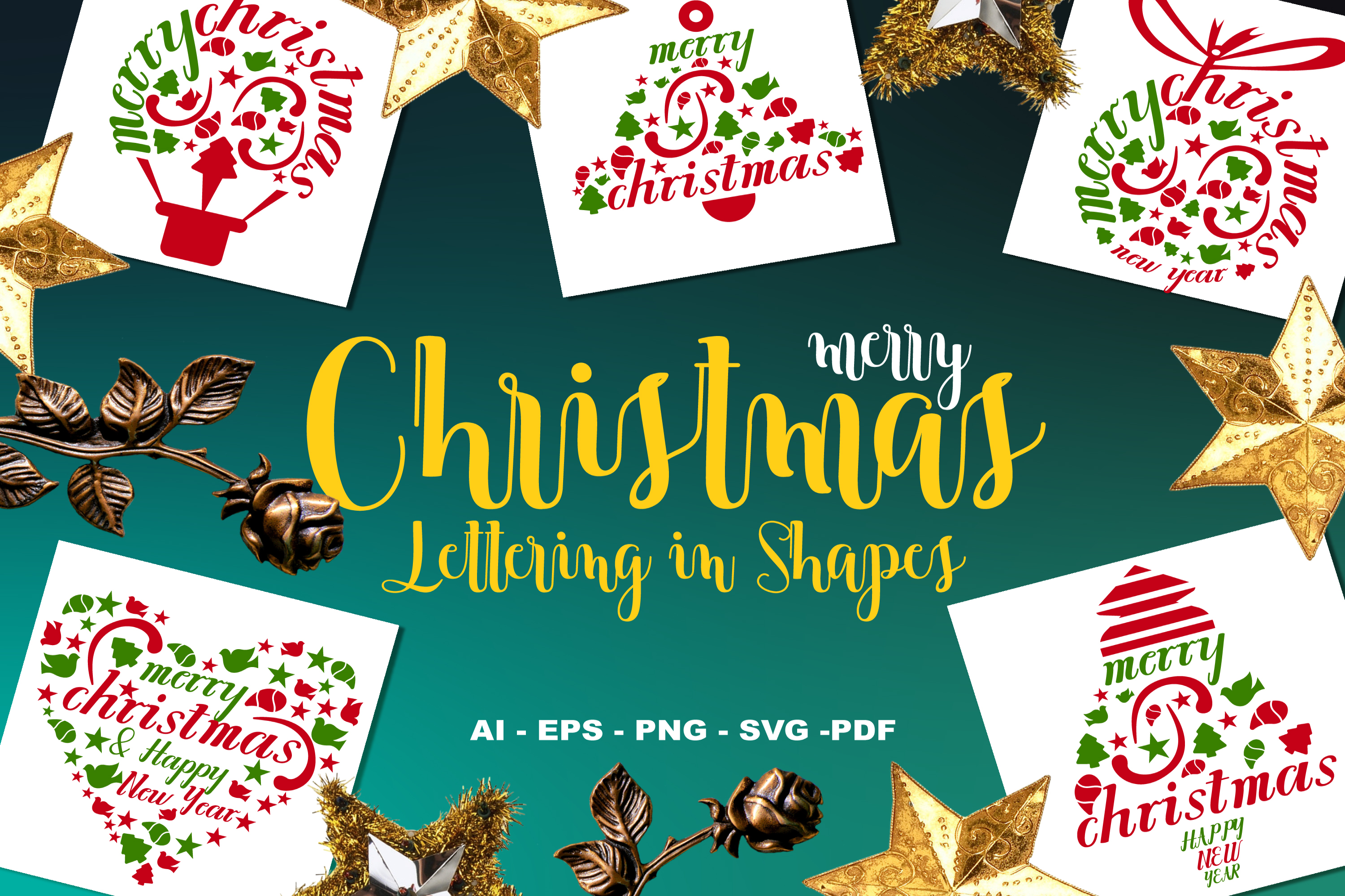 Christmas Lettering.Merry Christmas Lettering In Shapes