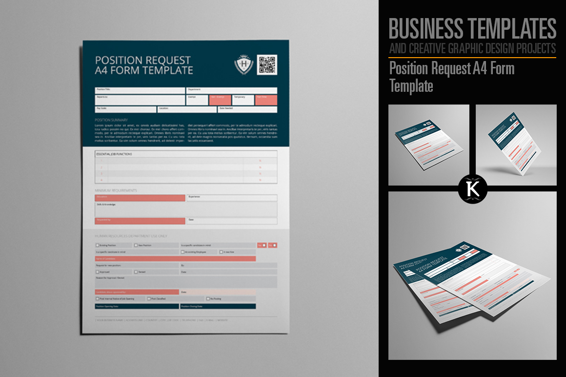 Position Request A4 Form Template example image 1