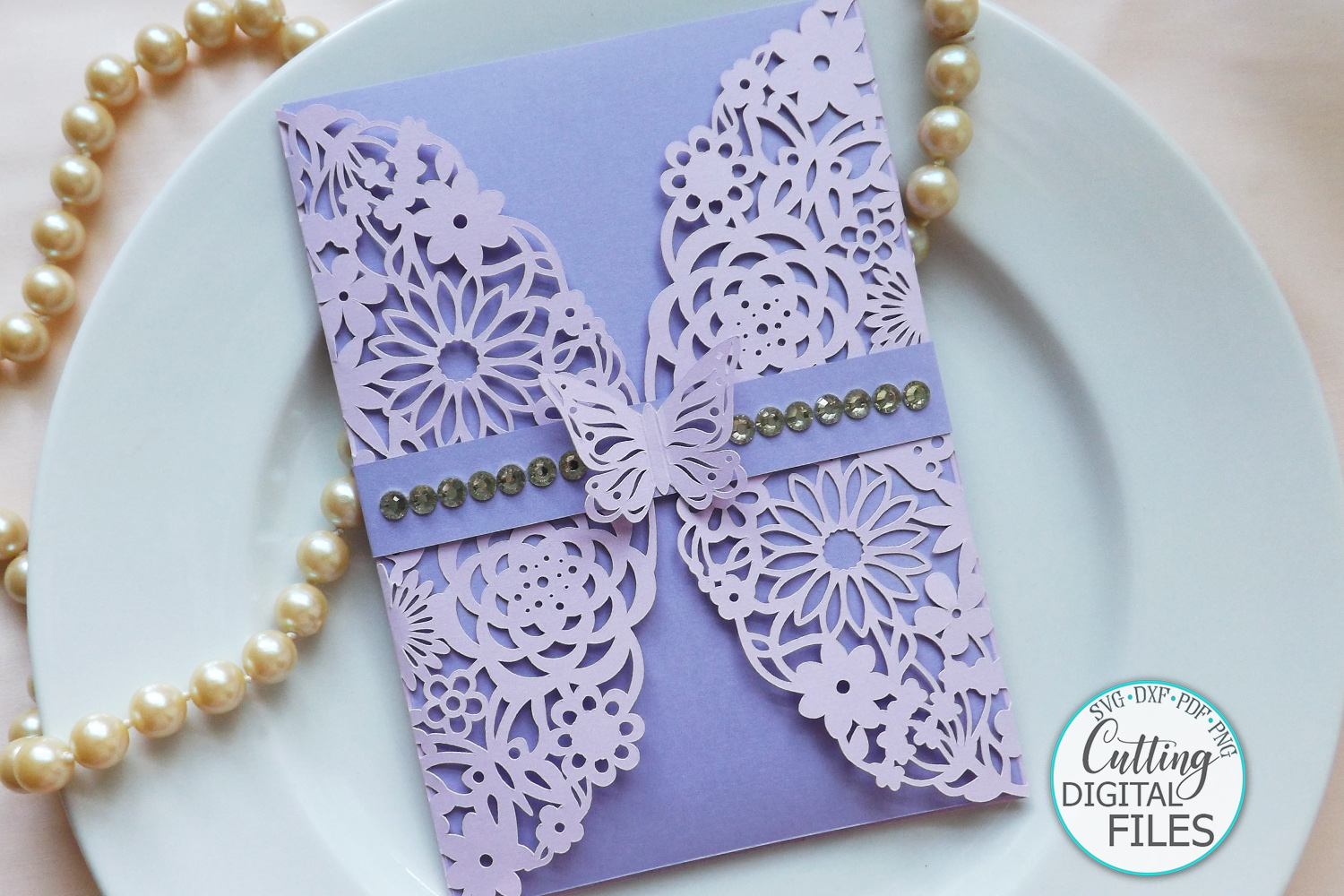 Floral Butterflies Wedding invitation Gate Fold laser cut example image 1