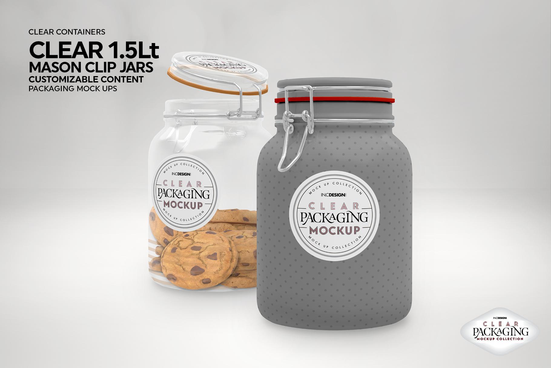 Clear 1.5 Liter Mason Clip Jar Packaging Mockup example image 5