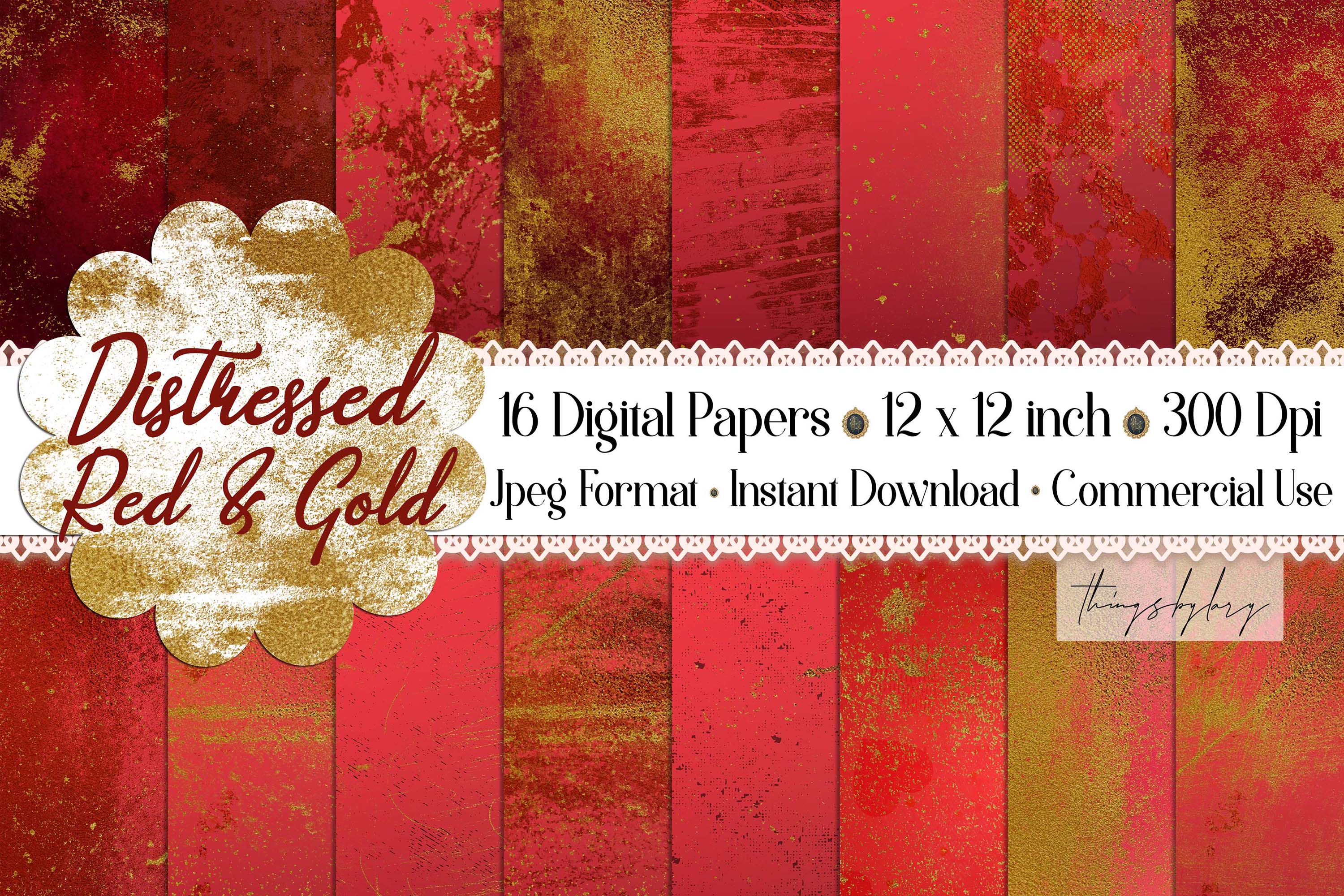 16 Distressed Red and Gold Artistic Painted Digital Papers example image 1