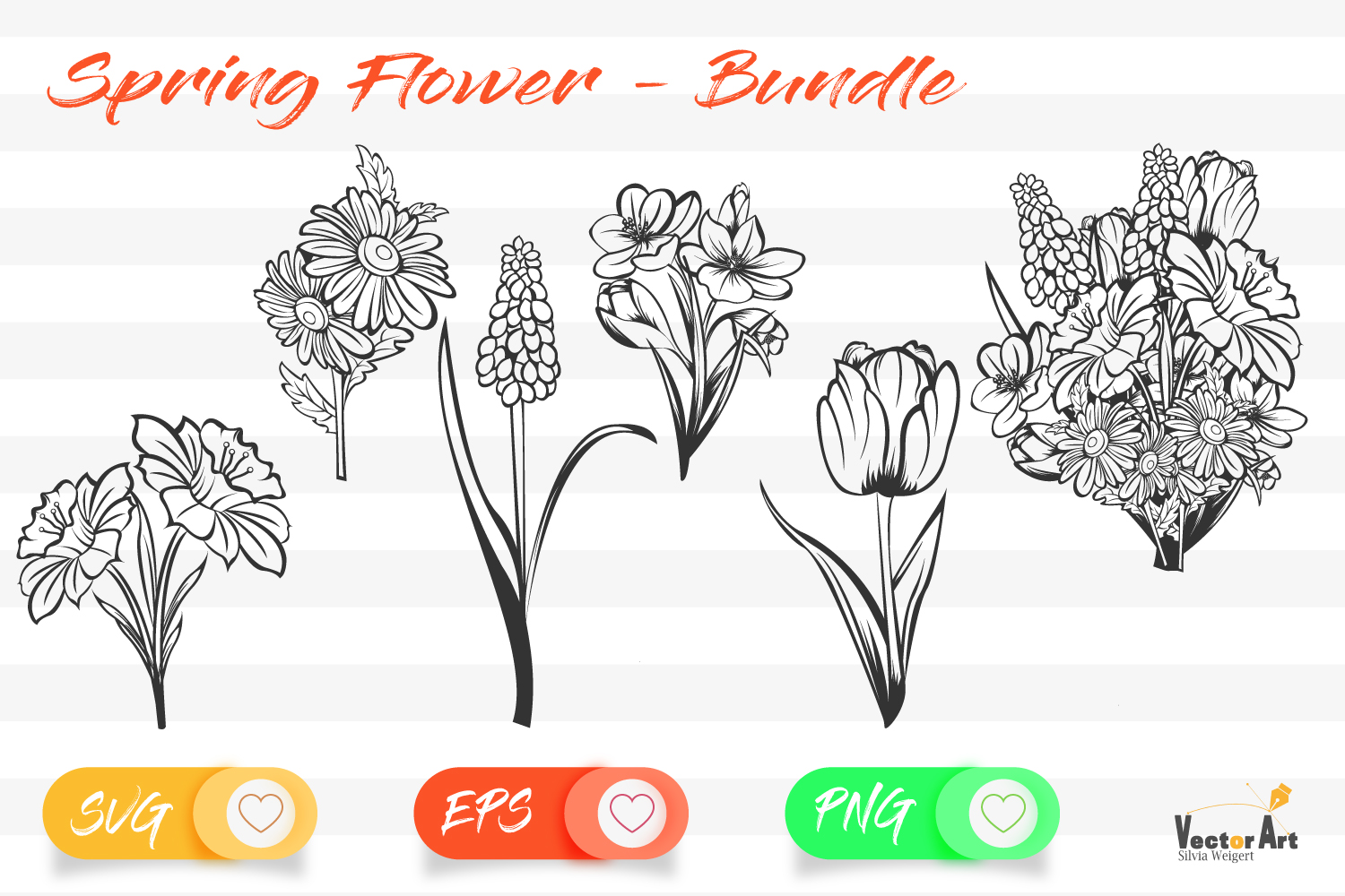 Spring Flower - Bundle - Cut Files with 2 Layers example image 2