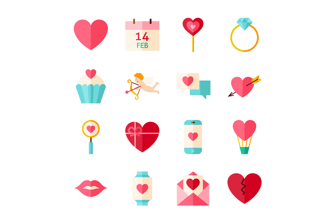 Valentine Day Vector Flat Icons example image 3