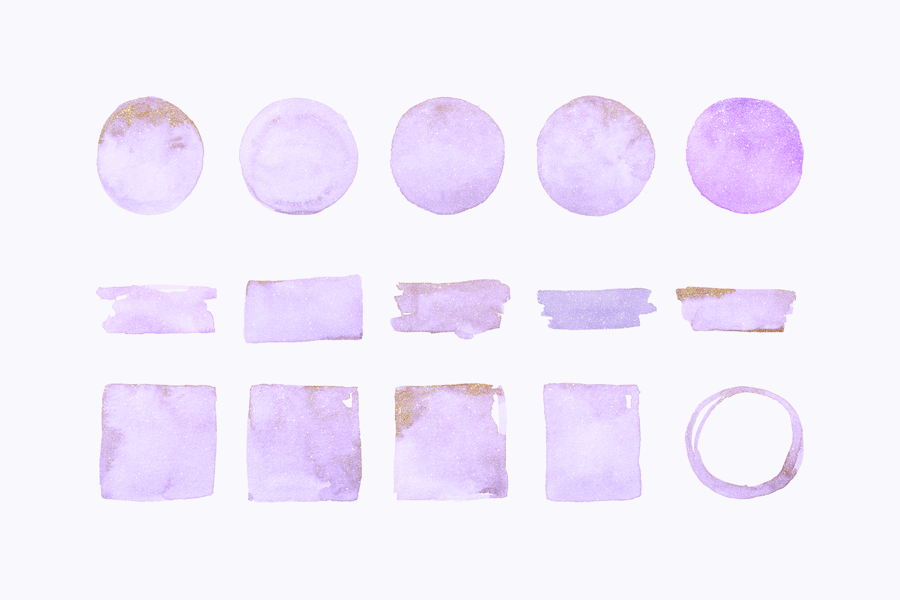 Gold glitter watercolor shapes, glitter lilac, green clipart example image 3