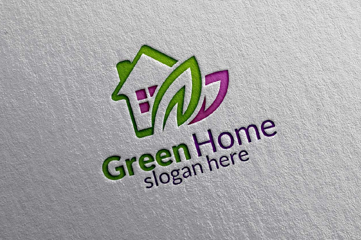Real estate Logo, Green Home Logo 9 example image 2