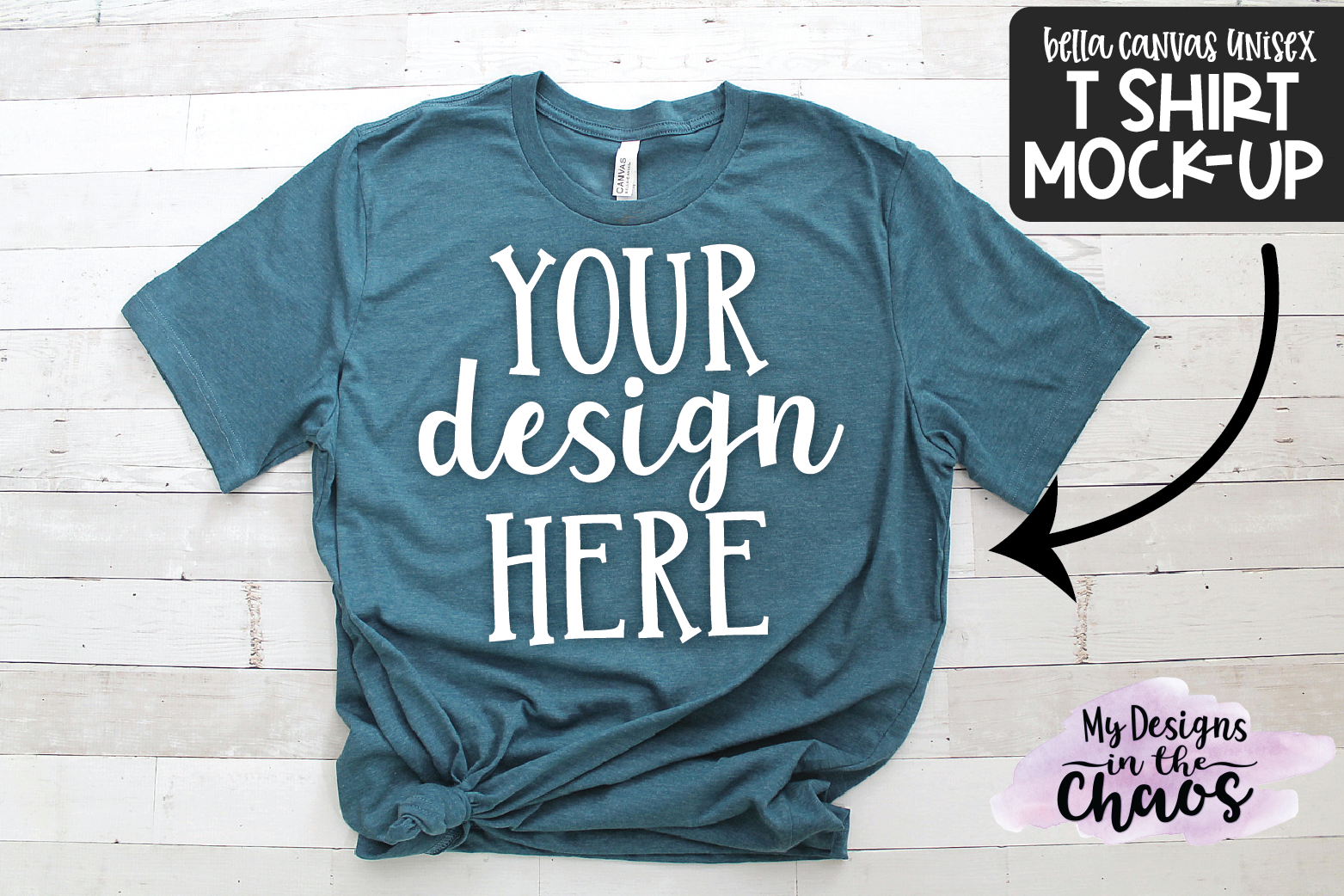 T Shirt Mock Up | Blue Bella Canvas Unisex Mock Up example image 1