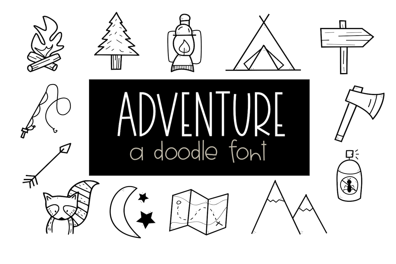 Adventure - A Camping & Outdoors Doodles Font example image 1