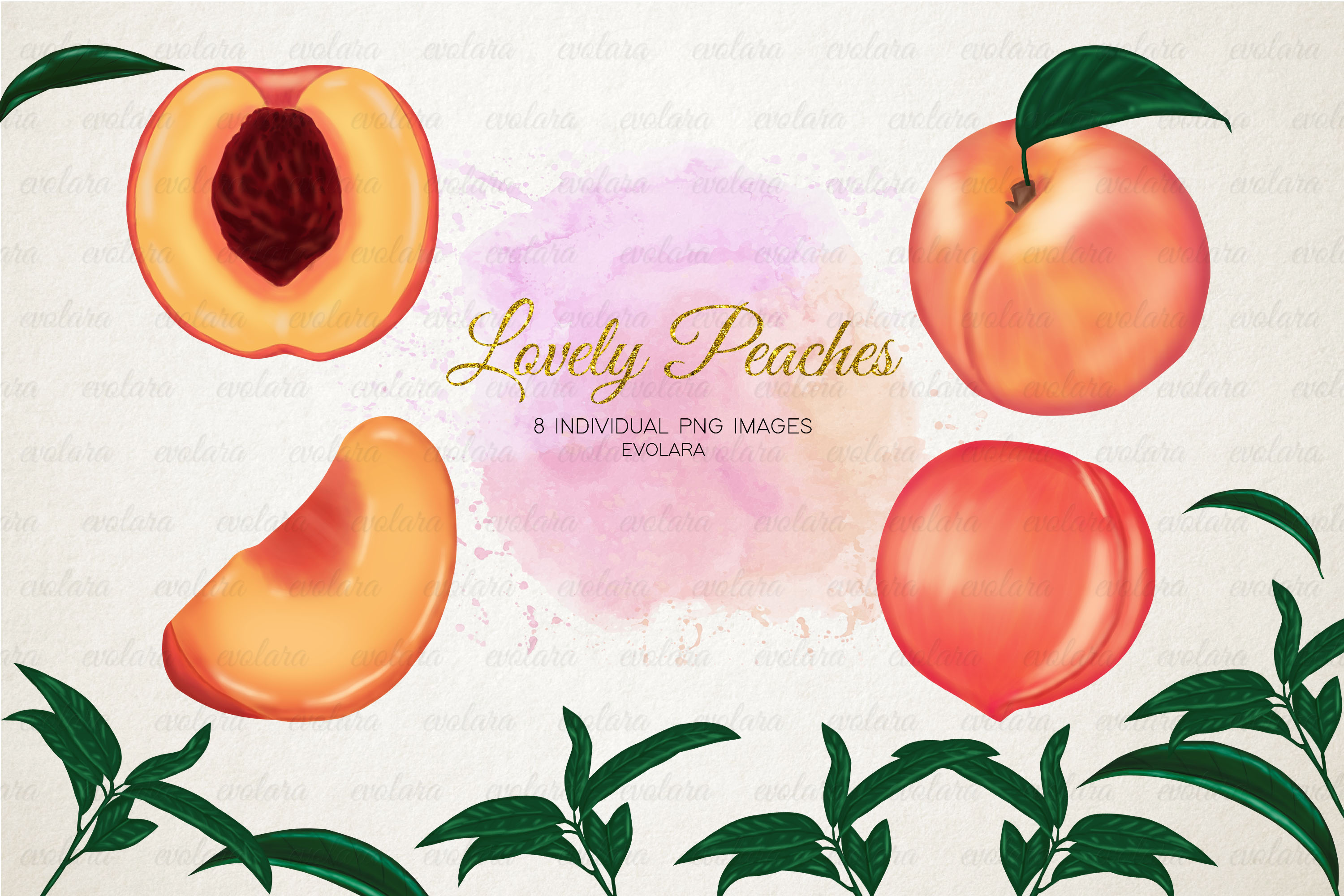 Peach Clipart Peaches Clipart Fruits Clipart Greenery example image 1