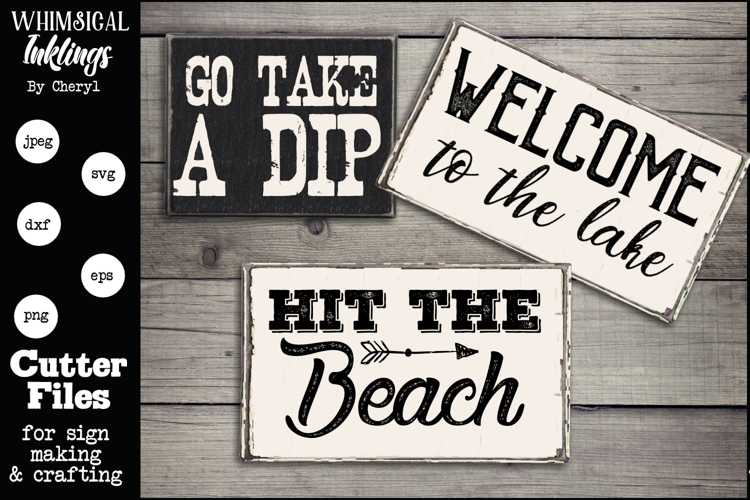 Hit The Beach-Lake SVG Sign Trio example image 1
