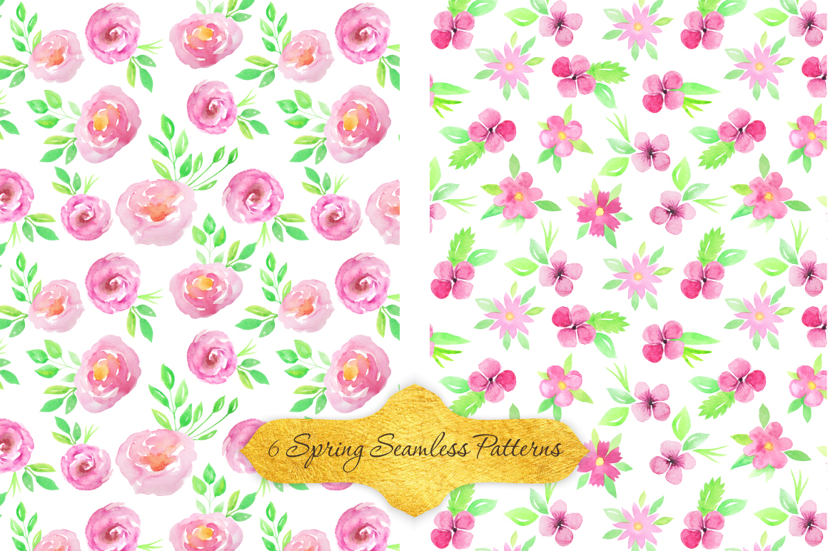 Watercolor Floral Patterns Vol.2 example image 2