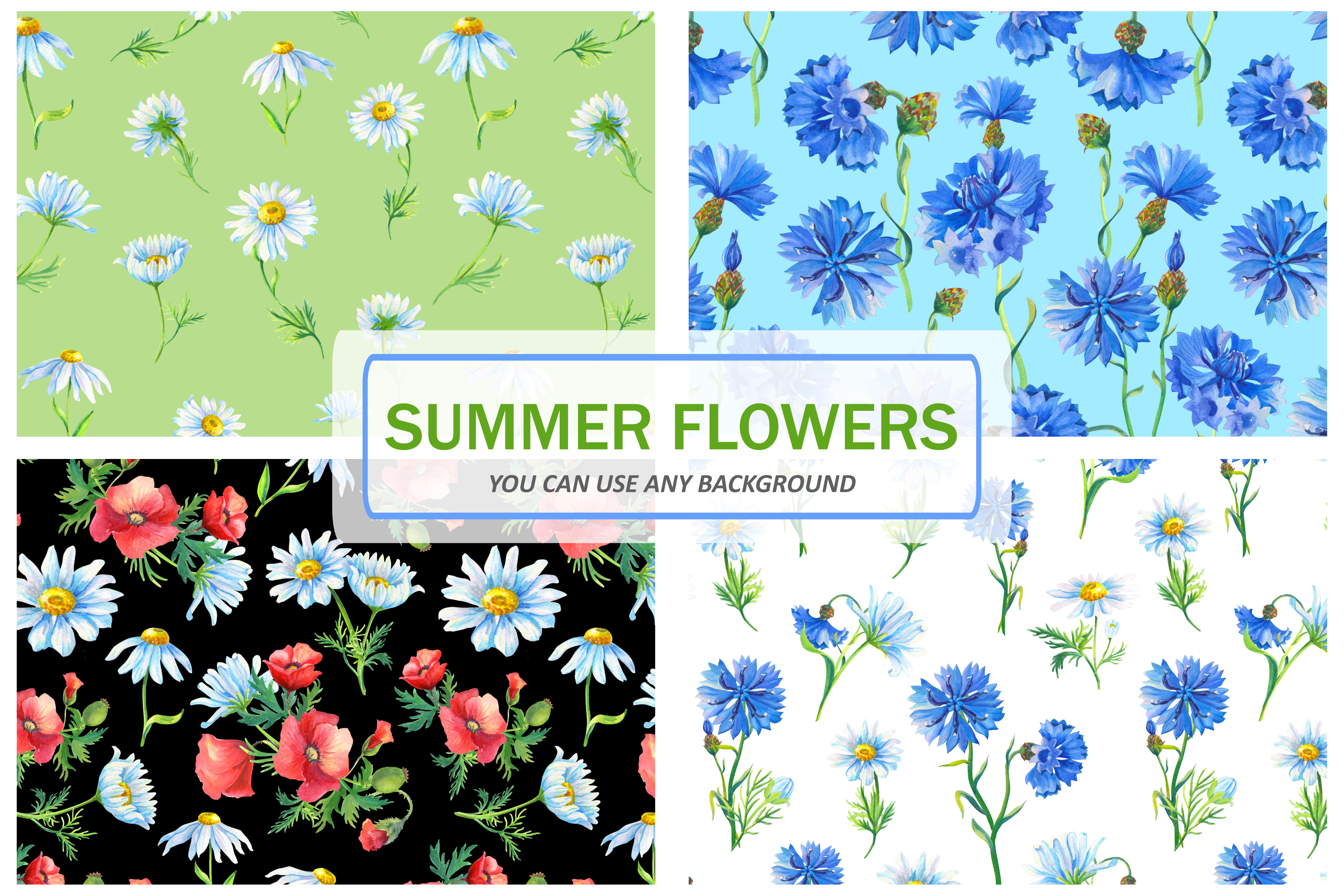 SUMMER FLOWERS.WATERCOLOR. example image 7