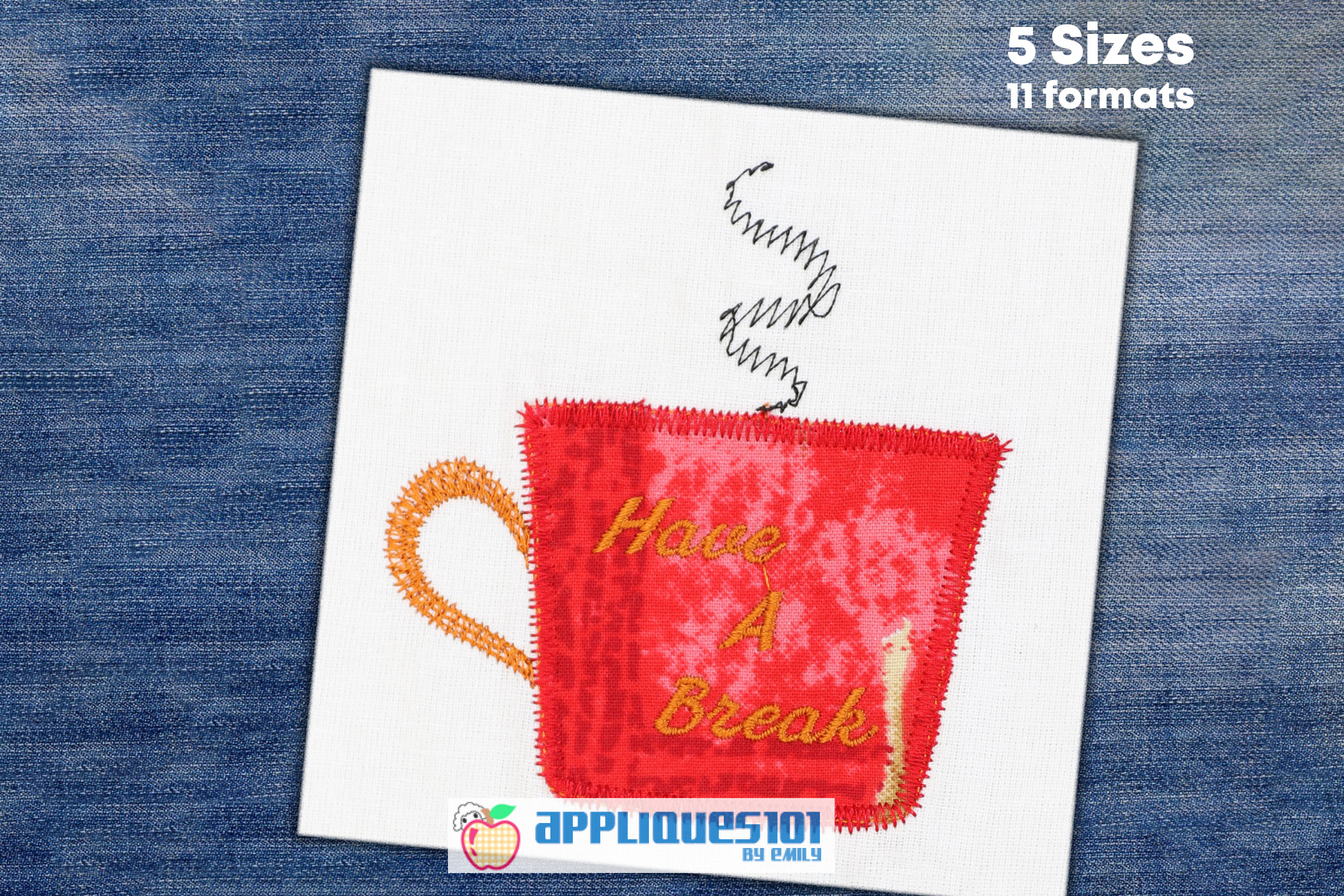 Coffee Cup Machine Embroidery Applique Design - Coffee example image 1