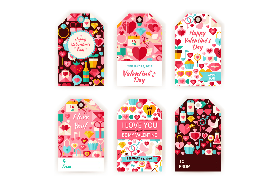 Valentine Day Gift Tag Vector Set example image 2