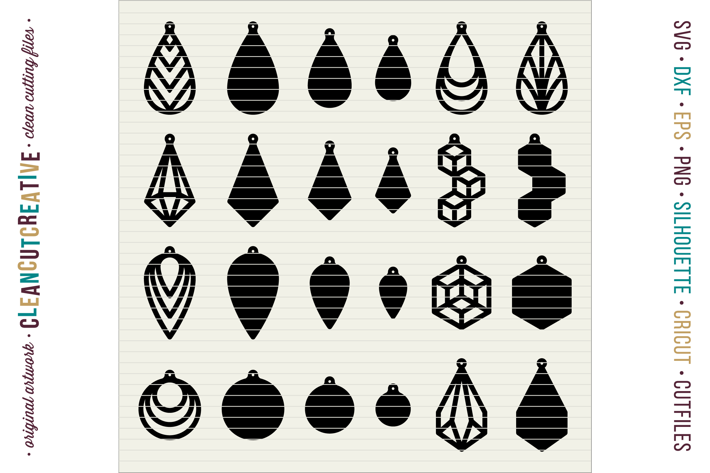 Set of 24 Faux Leather Earrings - SVG DXF EPS PNG craft file example image 2