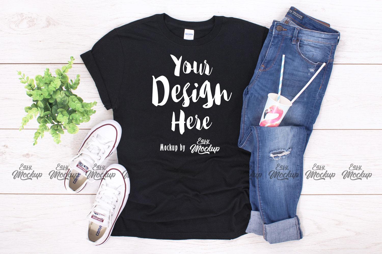Black Gildan 64000 T Shirt Mockup example image 1