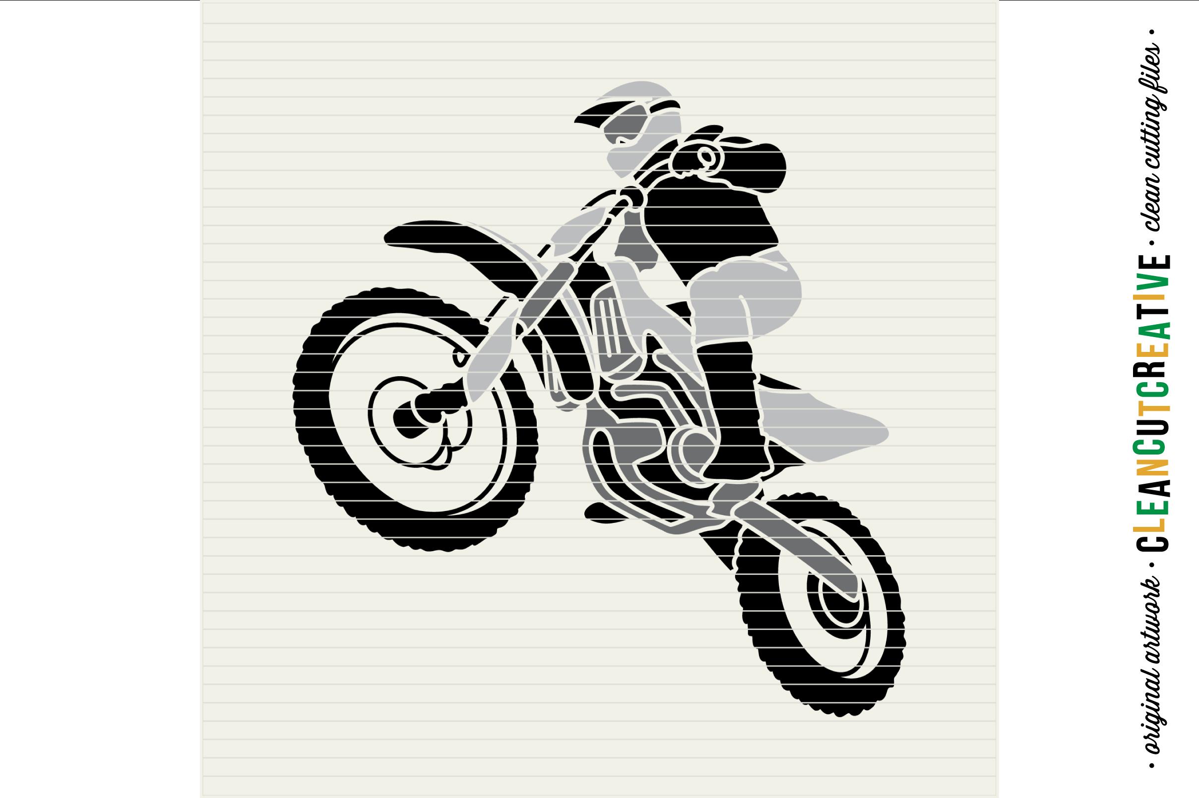 Motocross Dirt Bike design- SVG DXF EPSPNG - Cricut & Silhouette example image 3