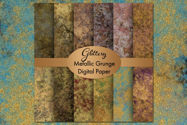 Glittery Metallic Grunge Digital Paper example image 1