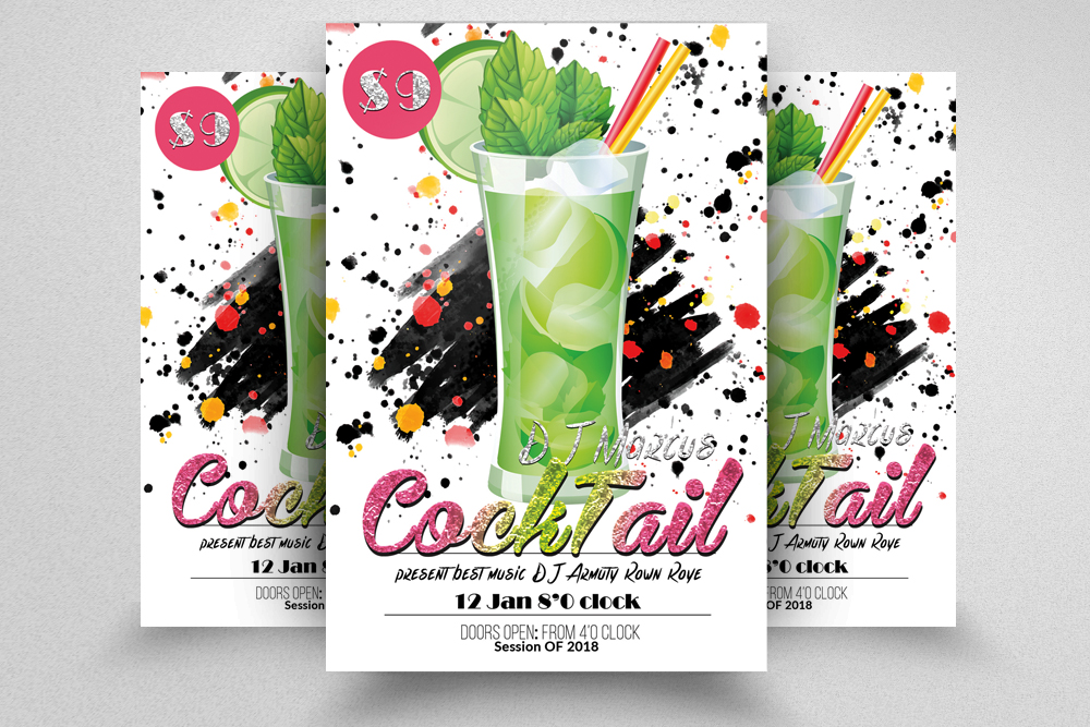 10 Summer Beach Cocktail Party Flyers Bundle example image 6
