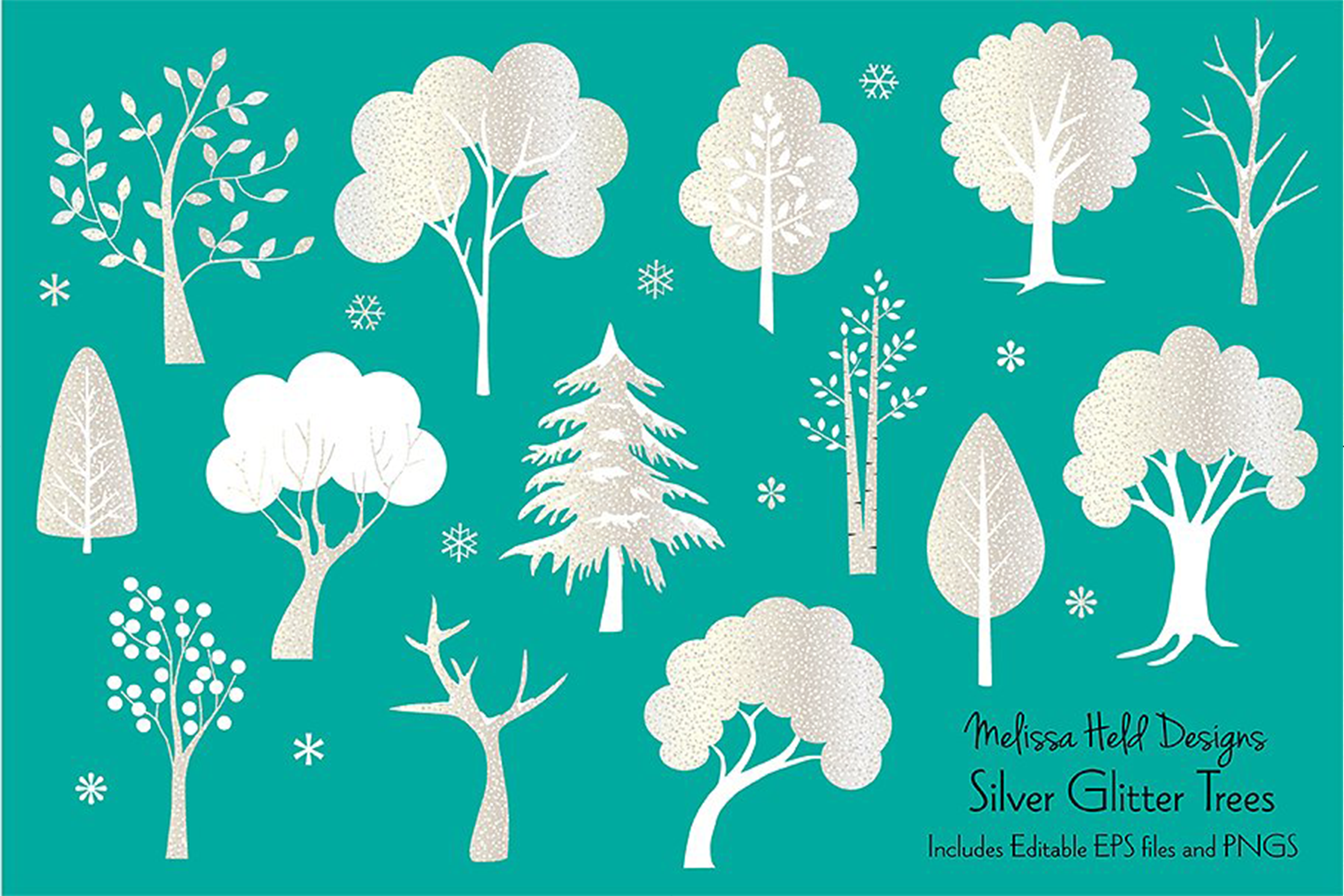 Silver Glitter Trees example image 1