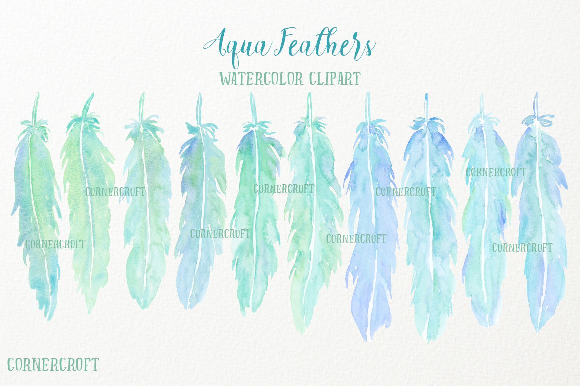 Watercolor Aqua Feathers example image 3