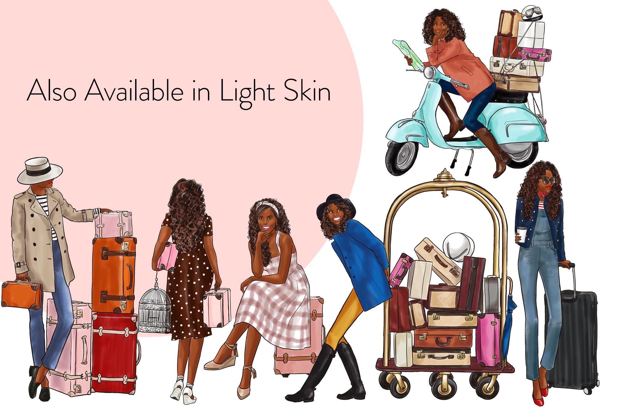 Fashion illustration clipart - Travel Girls 3 - Light Skin example image 4
