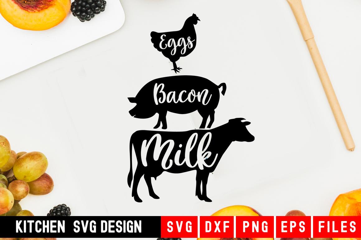 Eggs bacon milk Svg kitchen svg kitchen towel svg example image 1