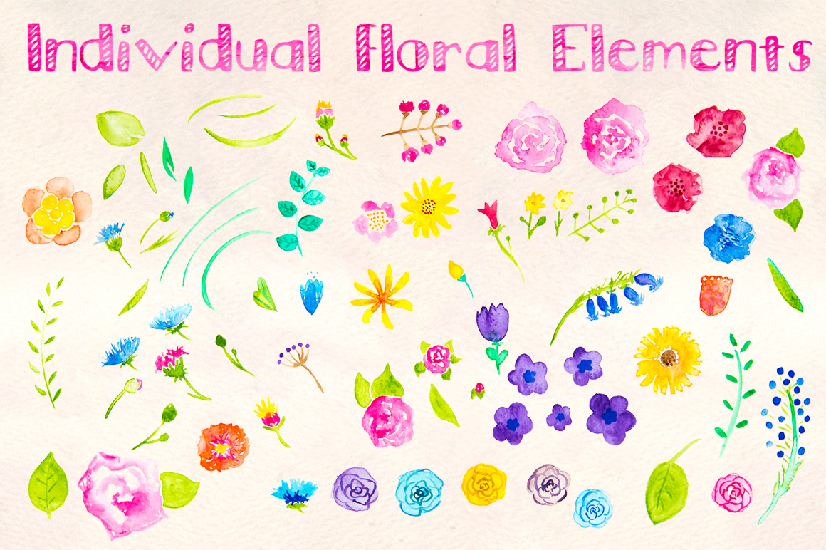 Seemless Floral Watercolor Patterns Bundle example image 2