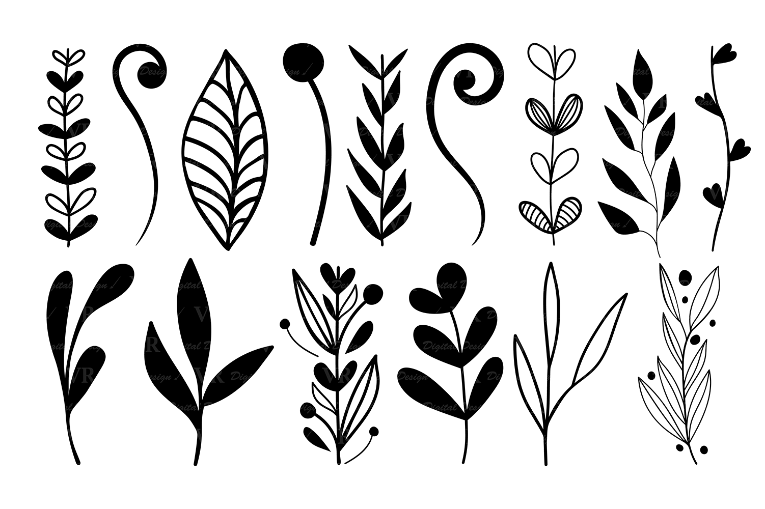 Wreaths Clipart Hand Drawn Black Design Elements Digital Wreath