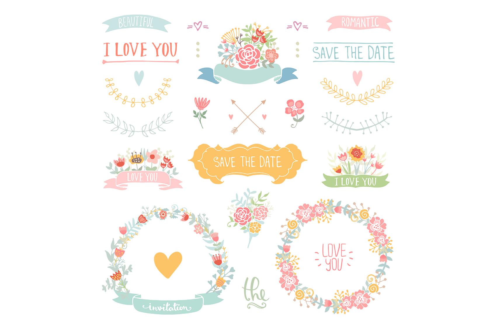 Wedding Floral elements Romantic set example image 4