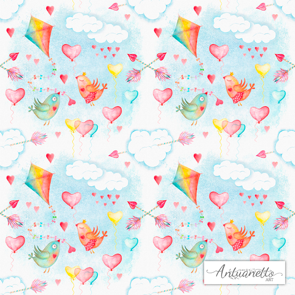 Watercolor sky cute seamless pattern example image 3