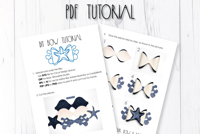 Starfish Hair bow template SVG, DIY leather bow template example image 3