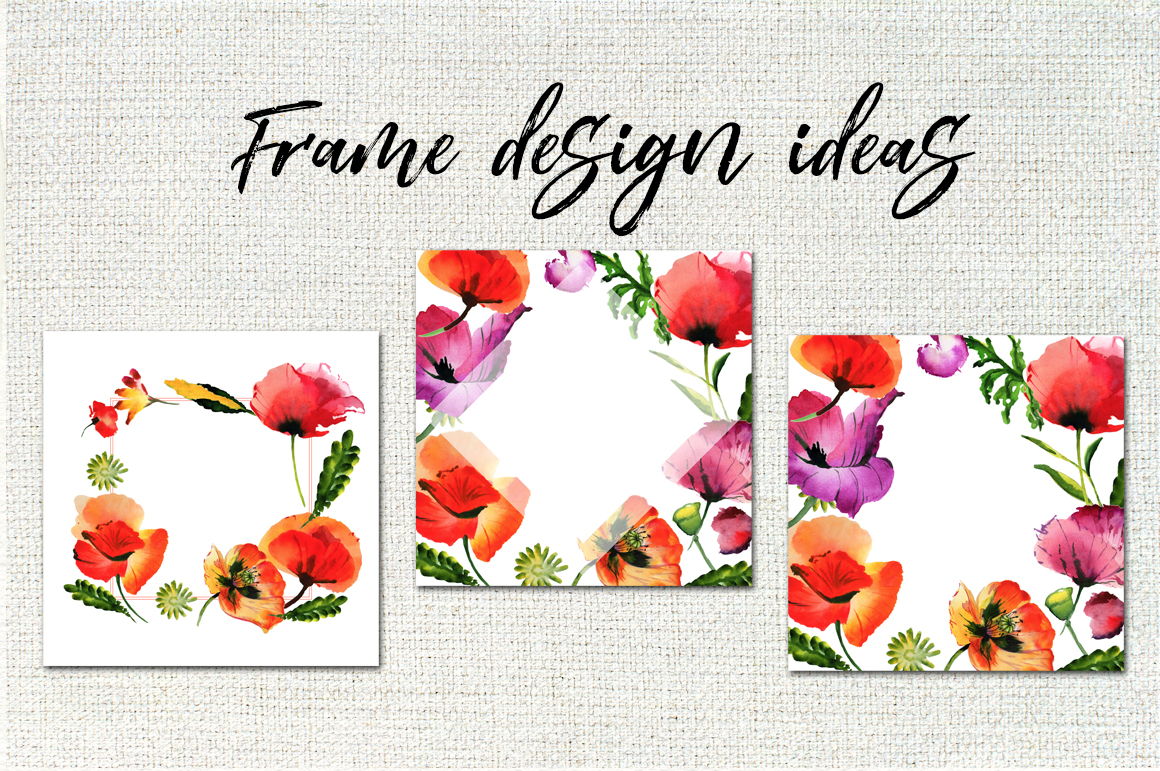Poppy flowers PNG watercolor set example image 8