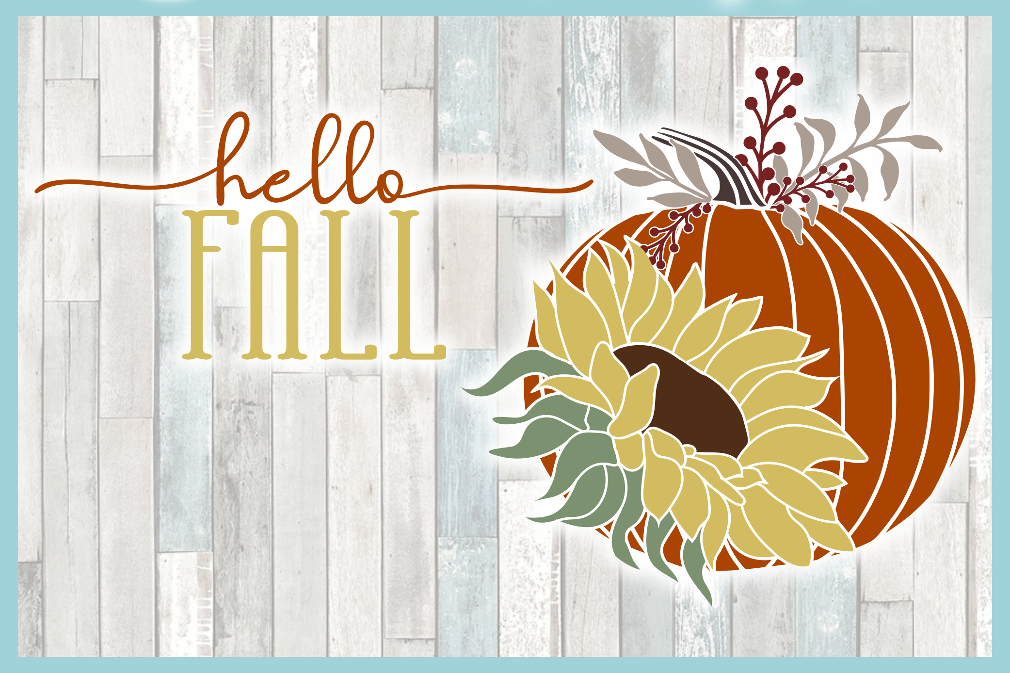 Hello Fall Quote With Pumpkin and Sunflower SVG example image 3