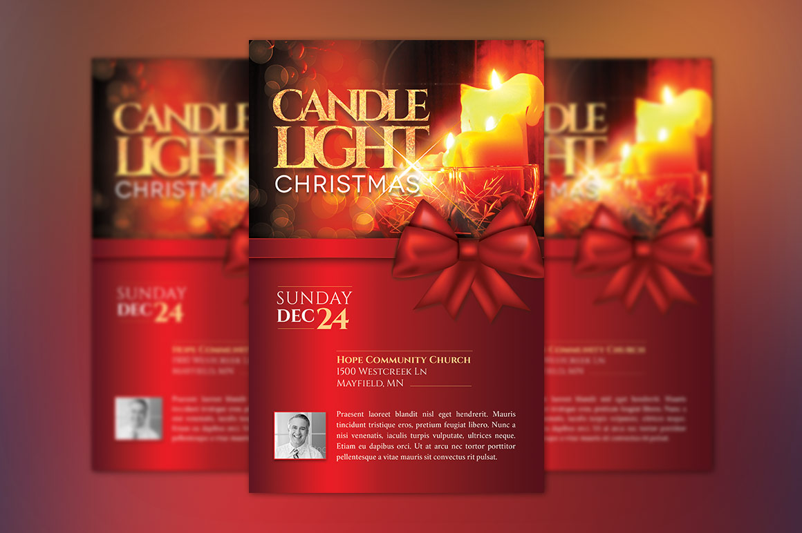 Christmas Candle Light Flyer Poster Template example image 2