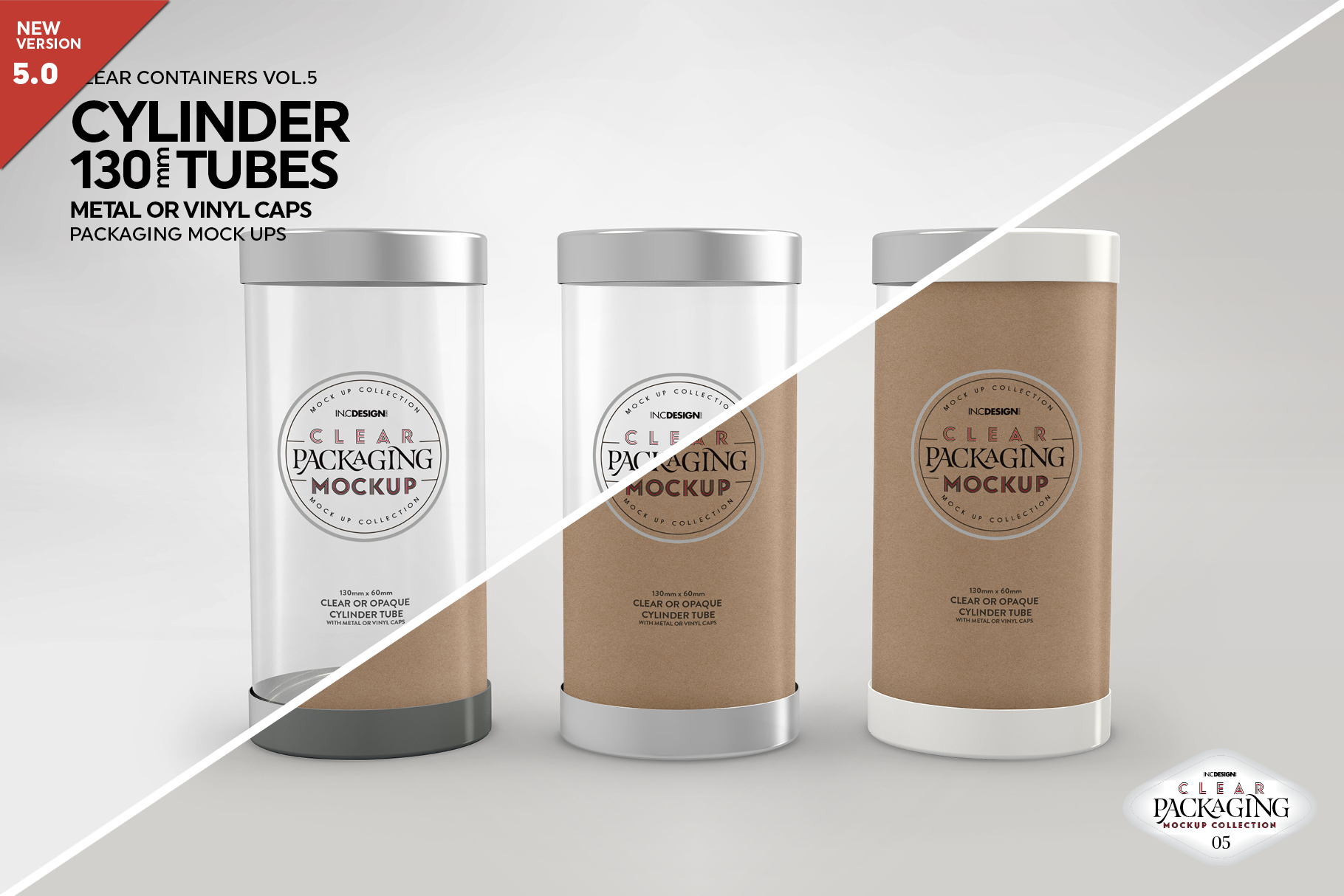 130mm Cylinder Tube Packaging Mockup example image 1