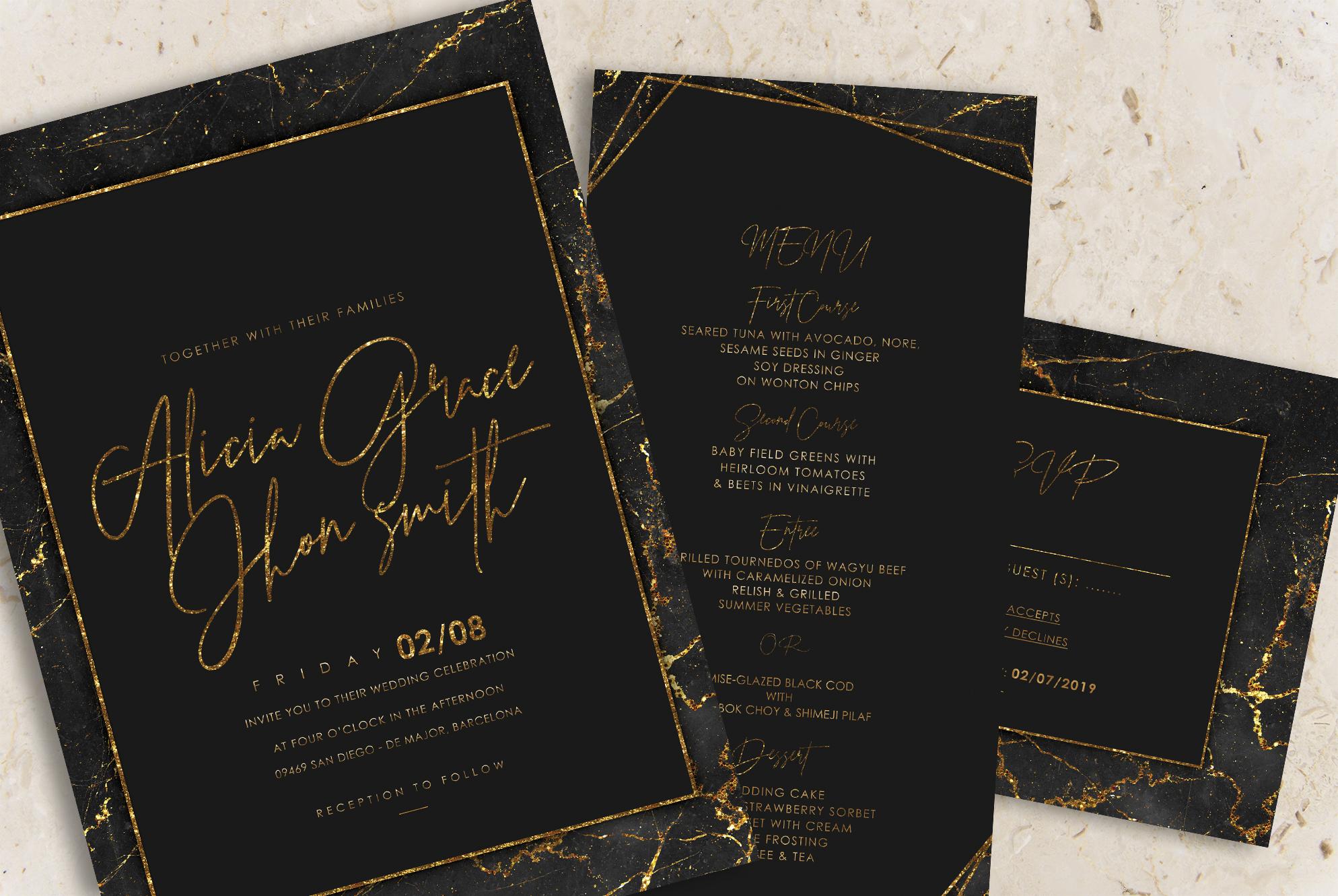 Gold Black Marble Wedding Invitation example image 2