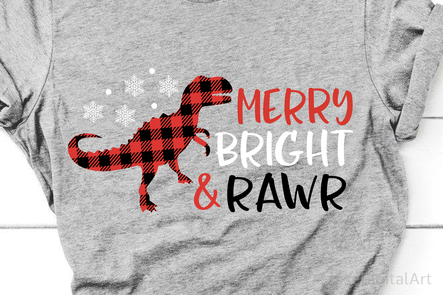 Christmas T-Rex Svg, Merry Bright and Rawr, Dinosaur Svg example image 1