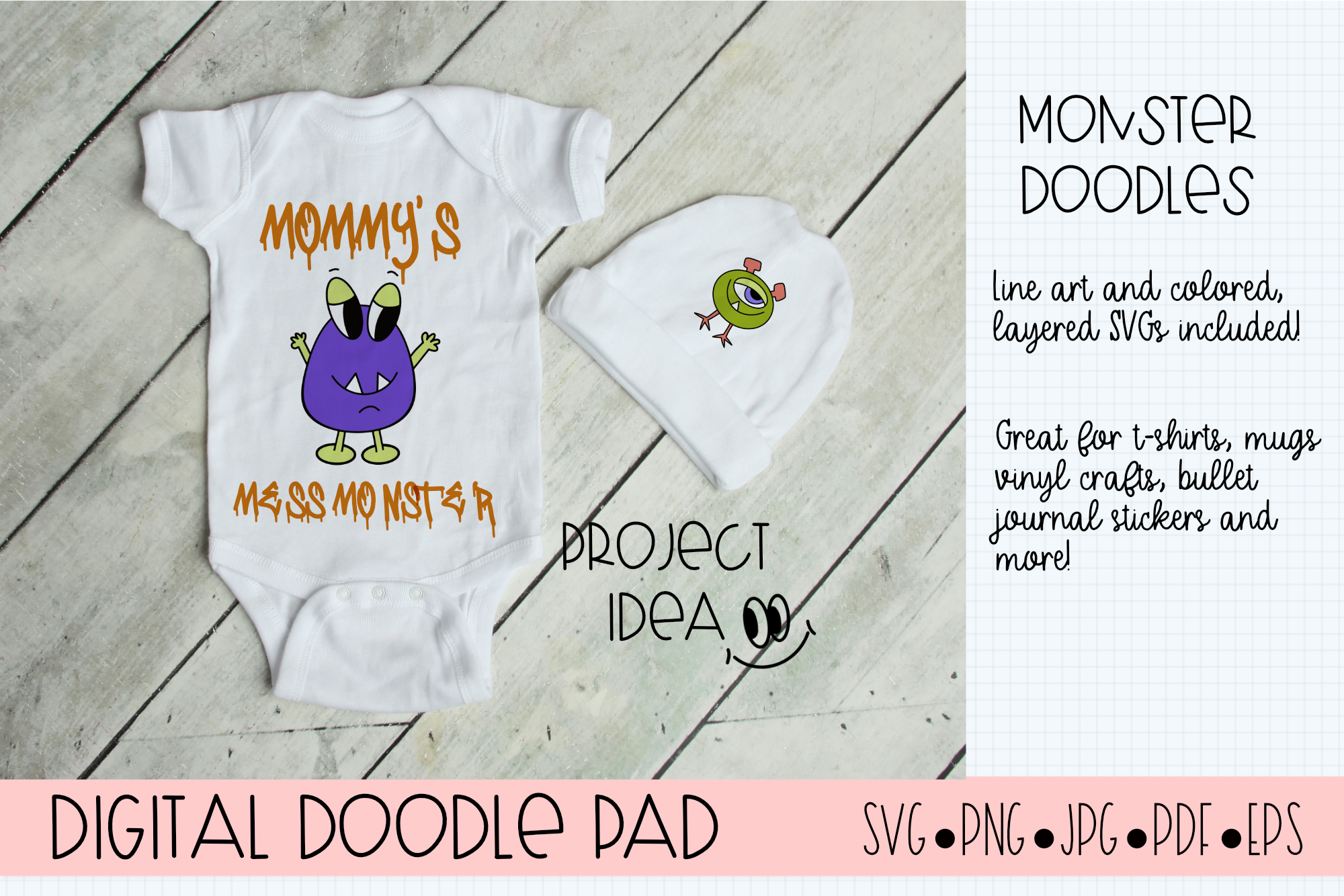 Doodle Monsters - Cricut & Silhouette Cut Files example image 3