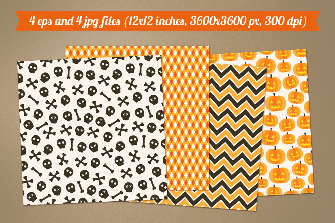 Halloween seamless patterns - set 3 example image 2