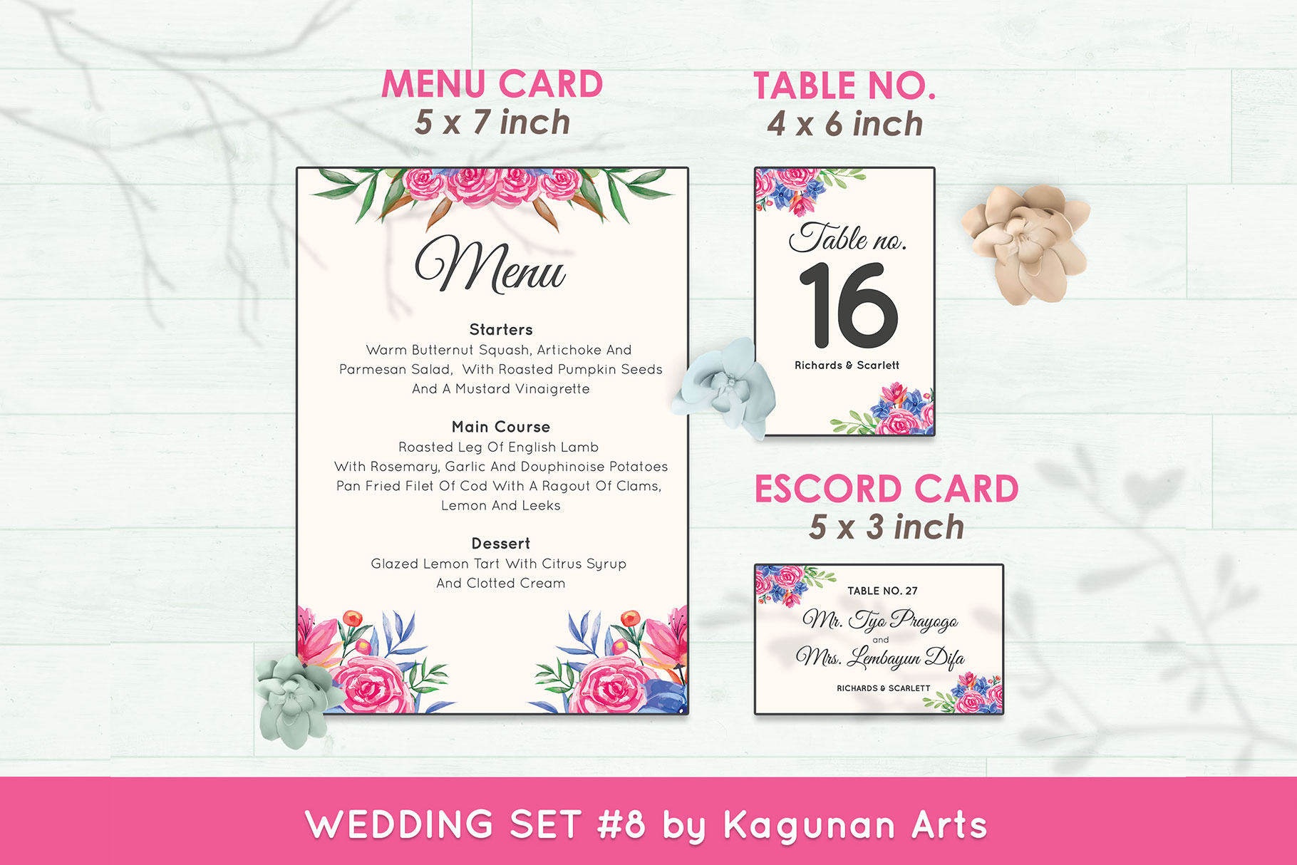 Wedding Invitation Set #8 Watercolor Floral Flower Style example image 6