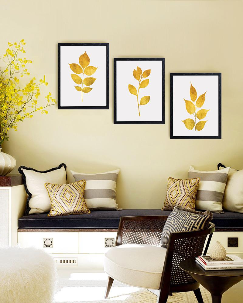 Gold Leaf Prints, Gold Print Set, Gold Botanical Prints example image 3