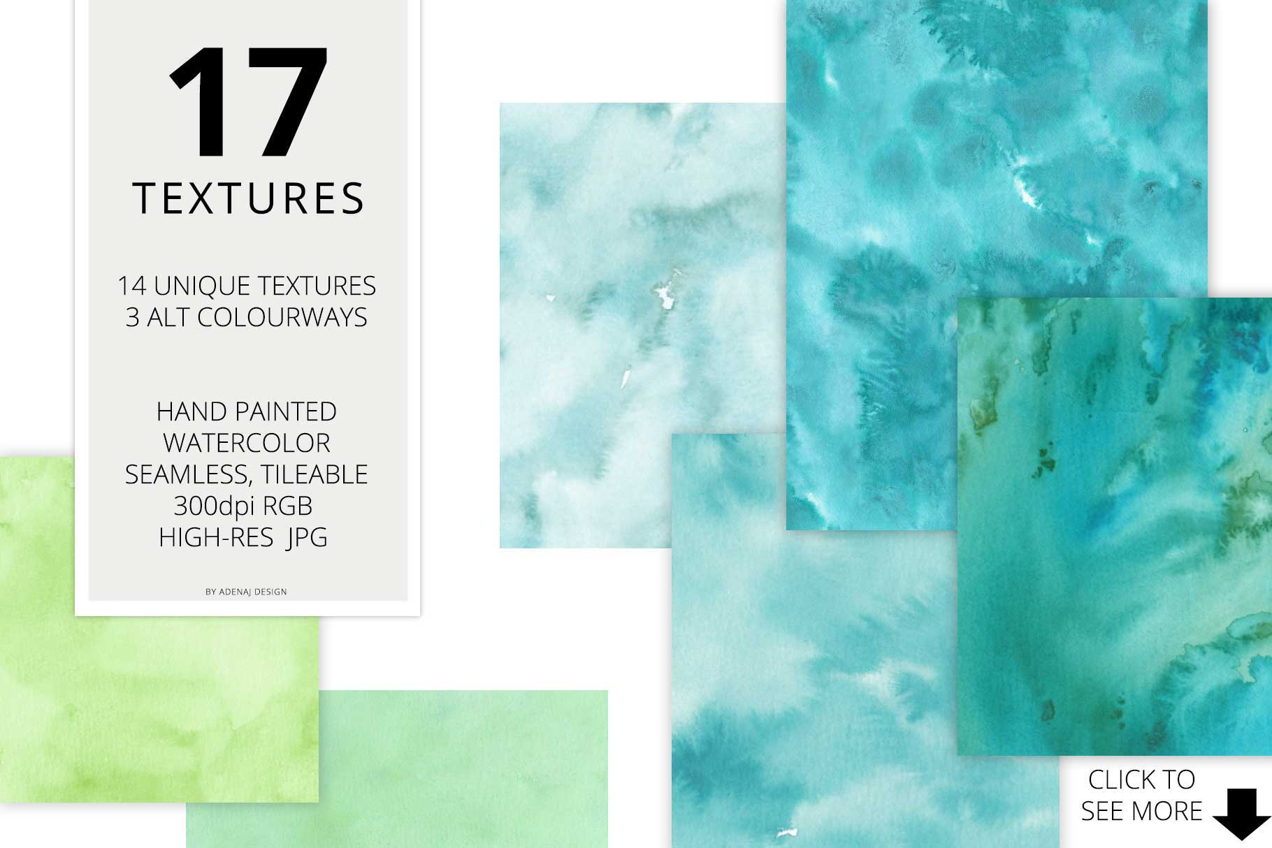 17 Huge Seamless Green Watercolor Textures example image 2
