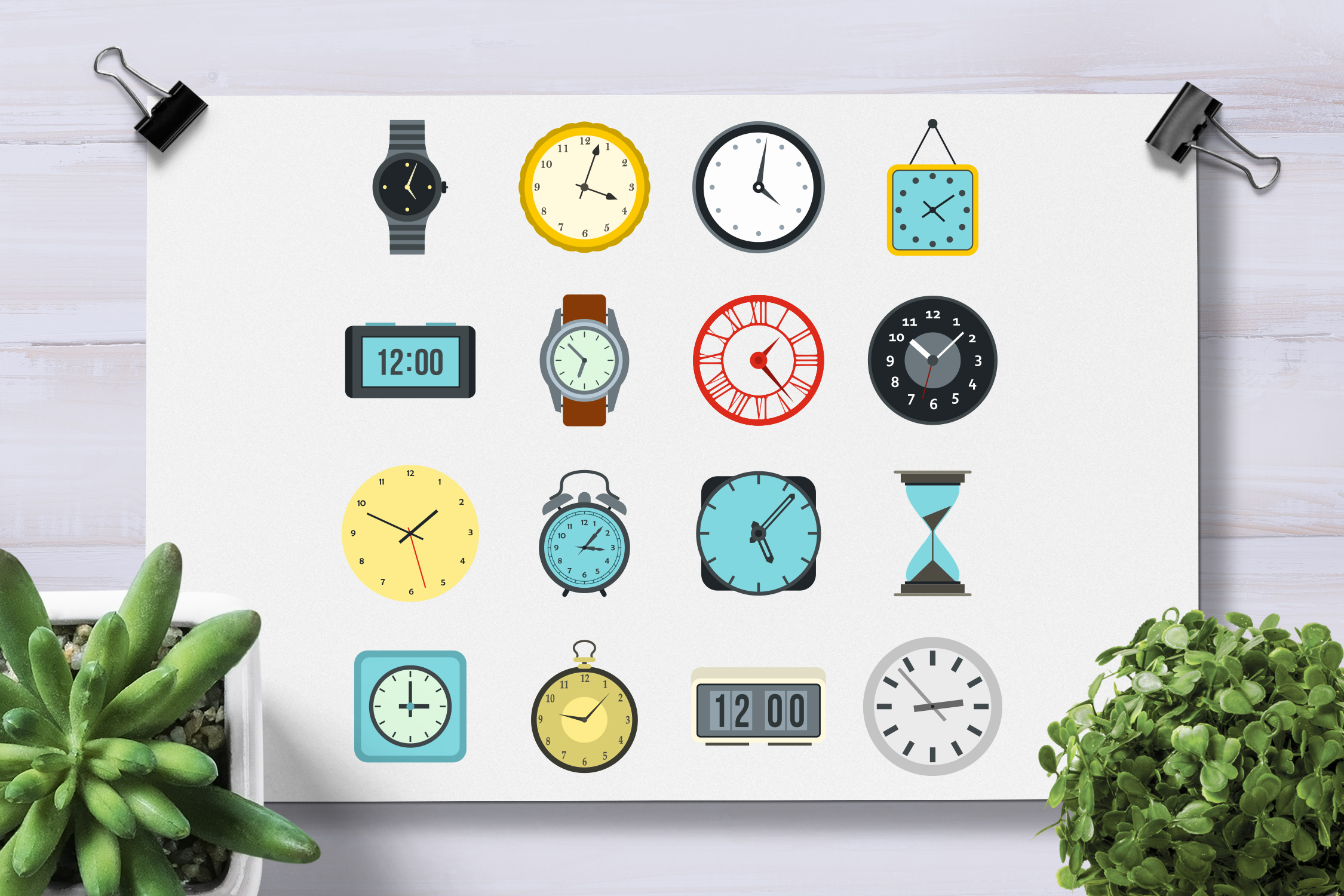 Time and Clock icons set, flat style example image 2