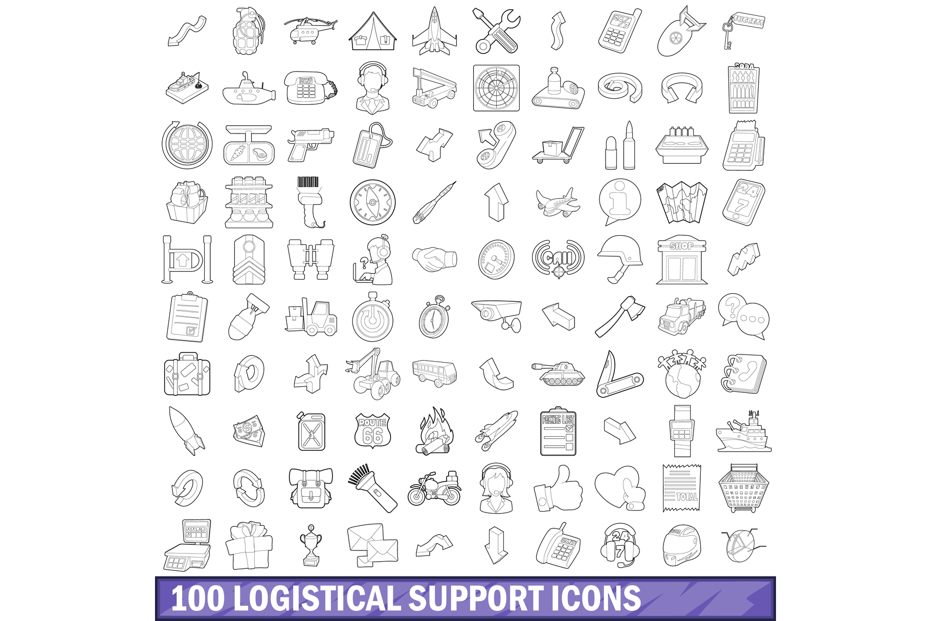 100 logistical support icons set, outline style example image 1